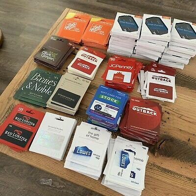 MASSIVE lot Of  unactivated no cash value GIFT CARDS! Nordstrom Jcpenny Outback