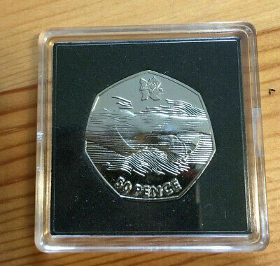 2011 AQUATICS OLYMPIC 50P WITH LINES ACROSS FACE RARE COLLECTABLE  (See Details)