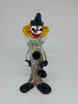 Glass Murano Clown Vintage Art Figurine Italy Hand Blown Italian Made Style