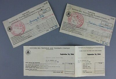 1944 Southern Bell Telephone Telegraph Co Lot of 3 Receipts Tedder Shoe Hospital