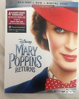 Mary Poppins Returns (Blu-ray/DVD/Digital Code, 2019) Brand New with Slipcover