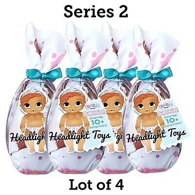Lot of 4 Series 2 BABY BORN Surprise Doll Blind Pack Boy Girl Drink Wet In Hand