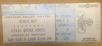 """American Ballet Theatre 'Mixed Repretory' (1989) Official Balcony Ticket Stub"""
