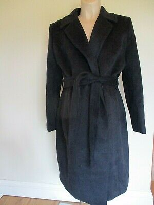 H&M Mama Maternity Black  Wool Blend Belted Mac Jacket Coat Size L 16-18