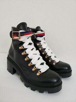 1e613232a GUCCI Women'S Candy Embroidered Knit & Patent Leather Embellished Black  Booties.
