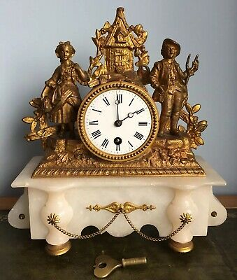 Antique 19th Century French Gilt Figural Alabaster Mantle Clock Spares Or Repair
