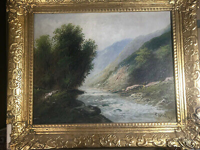 "Antique A Wilkins ""River And Landscape Scene"" Oil Painting - Signed And Framed"
