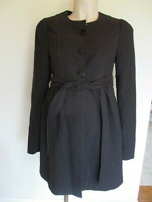 H&M Mama Maternity Stylish Black Smart Swing Mac Jacket Coat Size S 8-10