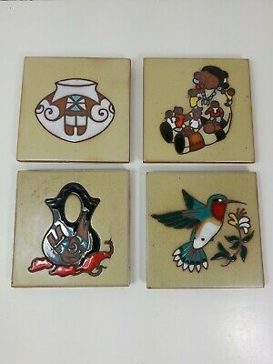 """4 Cleo Teissedre Coaster Trivet Tiles 4"""" BY 4"""" Wall Decor a7"""