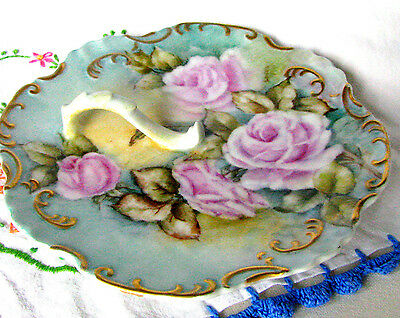 Victorian Lemon Dish Hand Painted Pink Rose Finger Plate c1800s Signed