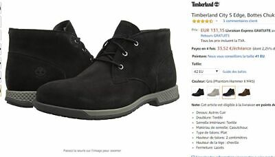 CHAUSSURES CUIR TIMBERLAND City S Bottes Noir Chukka Homme Taille 42 NEUF