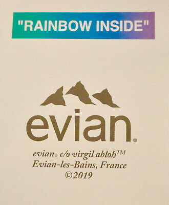 EVIAN Virgil Abloh collector bottle with SOMA bottle and Rainbow Inside bags