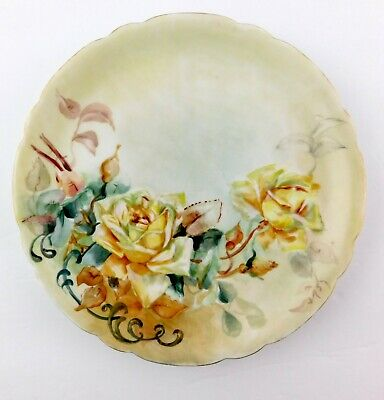 Antique JPL Jean Pouyat Limoges France Yellow Roses Hand Painted Flower Plate