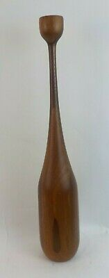 "XL Vtg Hand Made Staved Turned Wood Danish Modern 24"" Candle Holder Candlestick"