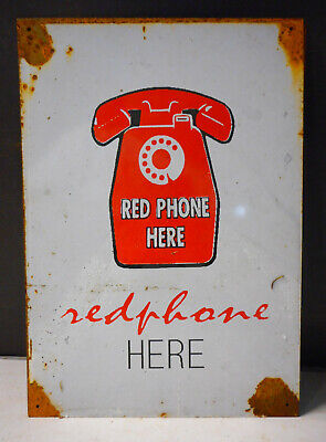 Red Phone Here Telephone Public Rustic Tin Sign Aussie Made Freepost  Australia