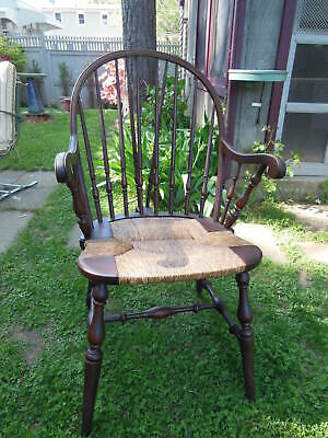 Vintage SIKES CHAIR CO~BUFFALO NY Windsor Chair w/ Rush Seat #1353IF ~PICK UP CT