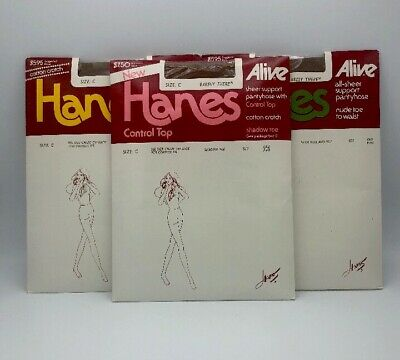 Three Pairs Of Vintage Women's Hanes Pantyhose Barely There Size C
