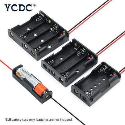 """1X 2X 3X 4X Multi Purposes DIY AA AAA Battery Holder Container+Lead Cables 5.31"""""""