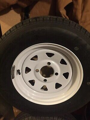 "16/"" Gloss Black Spoke Trailer Rim Wheel tire carg 20773"