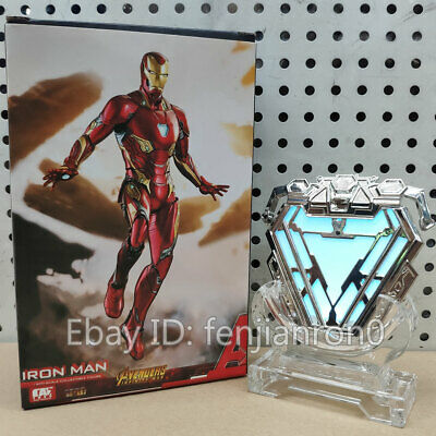 Cattoys 1:1 Iron Man MK50 Nano Suit Armor Arc Reactor Light Figure Model Toy