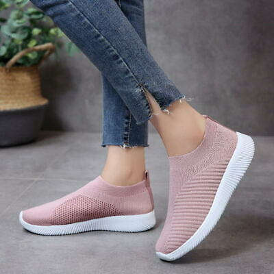 Womens Sneakers Knitted Mesh Breathable Casual Shoes Walking Slip On Flat Shoes
