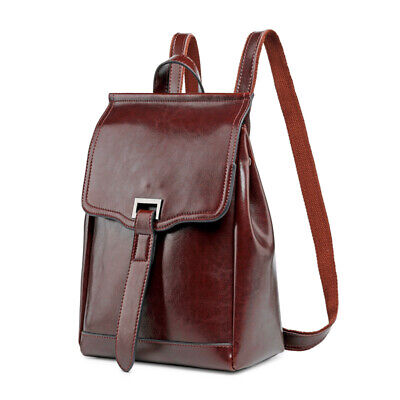 Natural Real Oil Wax Genuine Cow Leather Women's Backpack Cowhide School Bags