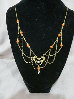 1890's Victorian /Art Nouveau Salmon Coral Seed Pearls 9ct Gold Chain Necklace