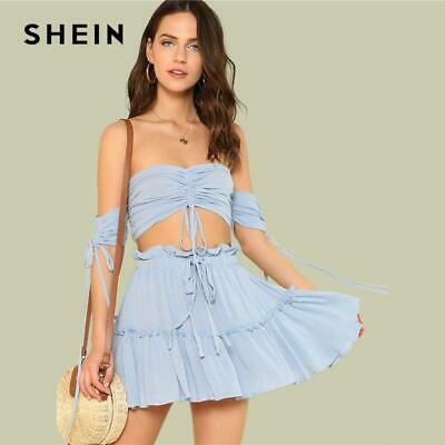 306ec3161e SHEIN Drawstring Crop Bardot Top With Tiered Skirt Set Sexy Solid Frill  Sleevele
