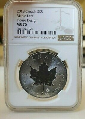 2018 Canada $5 Incuse Design Maple Leaf 1 oz .9999 Silver Coin NGC MS70