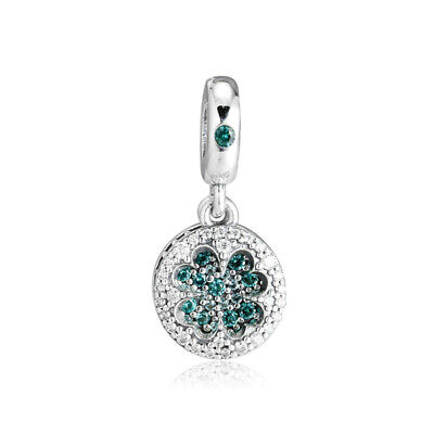 bf4e484dc Authentic s925 Sterling Silver Dazzling Clover Dangle Charm with Green CZ  Beads