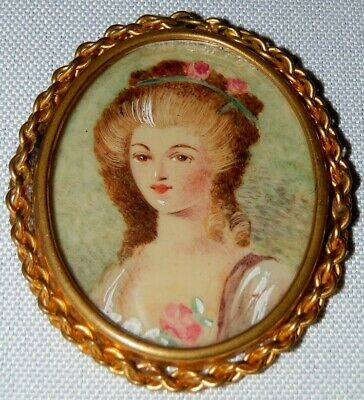 Antique SIGNED Miniature Watercolor Painted French Woman Cameo Portrait Brooch