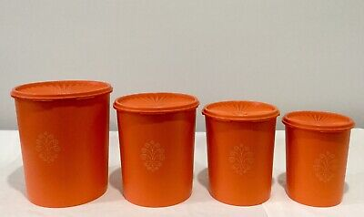 Set Of 4 Retro Vintage Canisters Tupperware Containers Orange Press & Seal Lids