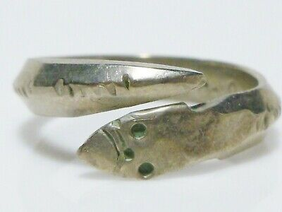 Sterling Silver Vintage Snake Serpent Mens Womens Biker Bypass Ring Band Size 11