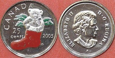 Proof Like 2005P Canada Christmas Stocking Color 25 Cents From Mint's Set