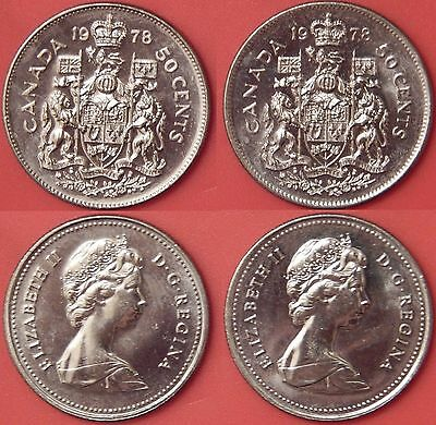 Brilliant Uncirculated 1978 Canada Round & Square Jewels 50 Cents