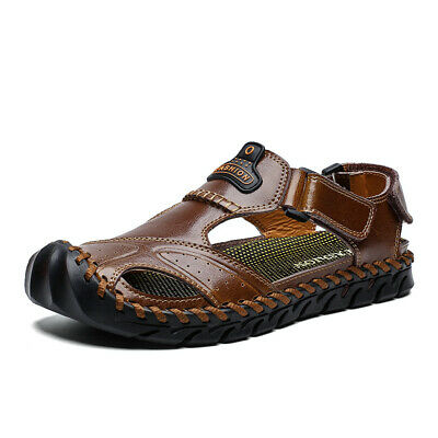 Men Leather Sandals Beach Closed Toe Shoes Summer Outdoor Hiking Sports Sneaker