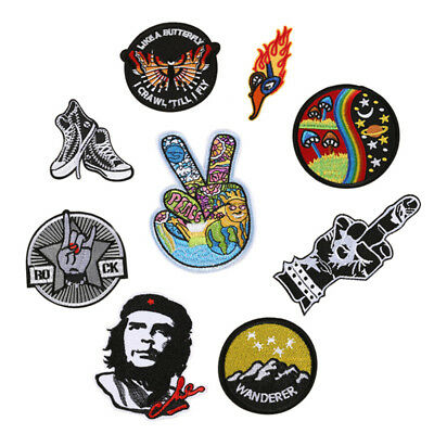 Embroidery Patches Sew On Iron On Badge Applique Bag Craft Sticker Transfer JD