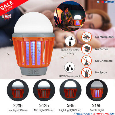 UV LED Electric Mosquito Zapper Killer Camping Lantern Fly Insect Bug Lamp Light