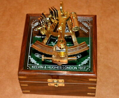 "Antique vintage 4"" brass nautical sextant astrolab ship instrument w/ wooden box"