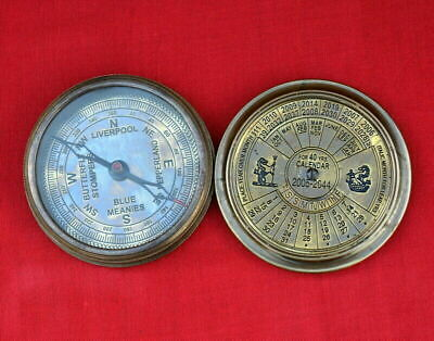 "Antique vintage nautical brass 3"" calendar compass collectible compass good gift"