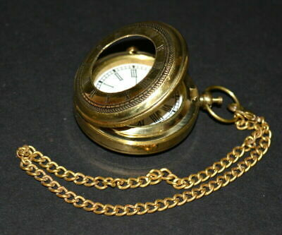 antique vintage maritime brass pocket watch push button collectible good gift