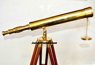 "Brass Telescope Vintage Maritime 18"" Brass Telescope With Wooden Tripode"