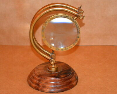 Old Antique Very Rare Polished Solid Brass Nautical Loop Magnifying Glass MG 015
