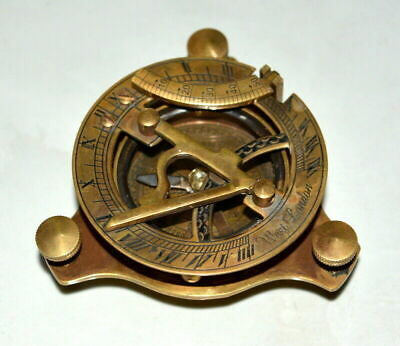 "Antique vintage brass sundial compass 3"" nautical maritime compass brown gift"