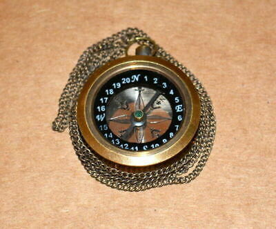 """Antique vintage maritime compass 1"""" collectible pocket compass brown with chain"""