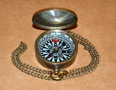 """Antique vintage brass 1"""" compass brown with brass chain collectible good gift"""