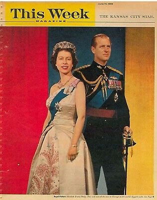 This Week Magazine June 14 1959 Queen Elizabeth and Prince Philip Britannia