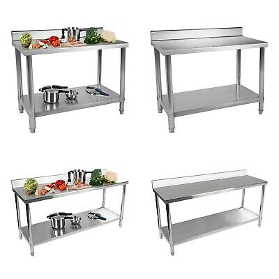 Stainless Steel Tables With Upstand Stainless Steel Kitchen Work Tables 90-160kg