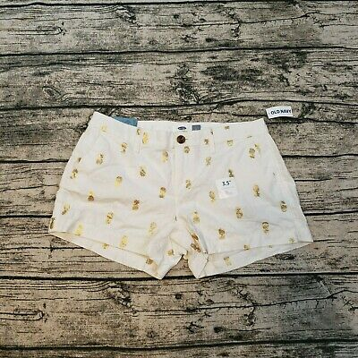 0587dbfd94 NWT OLD NAVY Women's White & Gold Pineapple Print Linen Shorts Size 2