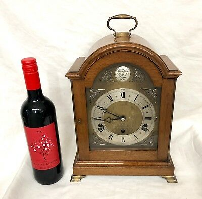 ELLIOTT LONDON Walnut Bracket Clock Westminster Whittington Chime NIGHT SILENCER